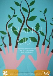 Anna Heron - Paper artwork poster designed to advertise a museum exhibition on British trees called 'Branch Out'.