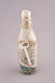 Katherine Lees - Porcelain printed bottle adorned with bone china key necklace.