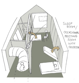 Jennifer Sewart - Intermittent spaces - the creche sleep area becomes a meeting room.