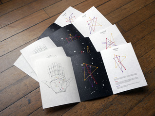 Chloe Chadwick - Postremo. Predicting a persons future by overlaying illustration of each palm (left representing the past and right representing the present). Each overlay creates an identity, narrative and predictions, as well as a named constellation for each person.