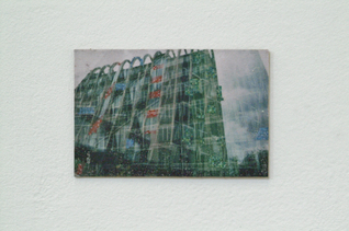 "Charly Gibbs - DSCF0084. 6"" x 4"". Cold encaustic wax on acrylic on photograph. 2014"