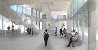 Mariam Iqbal - Internal view of main entrance: the interlocking staircases highlight the union between both territories