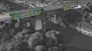 Mariam Iqbal - West faced external view, showing coloured coded panels with the skill trade market