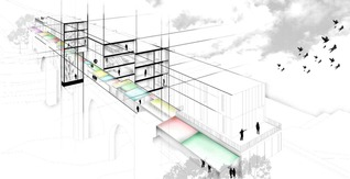 Mariam Iqbal - Perspective section through building and market