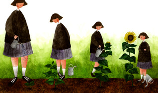 Charlotte Cotterill - Double page spread for an original picture book about a girl who is big for her age.
