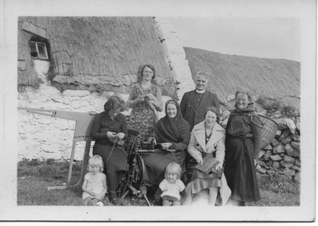 Olivia Isbister - Women carding, spinning and knitting, Burra Isle, late 1920s
