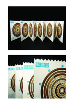 Johanna Myers - A couple of images of one concertina booklet from a set of two. This project looks at how I spent my summer in 2013 - working at a bakery shop every Sunday. I collected information about how many bagels and buns I sold every Sunday throughout my summer and how many of each type. One concertina booklet shows the type of bagel/bun and how much of that type was sold every Sunday (starting small for the least sold, and going larger the more sold), and the other shows how many bagels and buns were sold that specific Sunday.