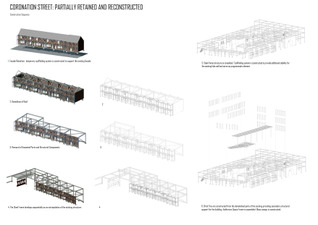 Mariya Badeva - Construction Sequence: Partial retention of existing Coronation Street film Set. The new-built is an extrapolation of the existing steel frame structure.