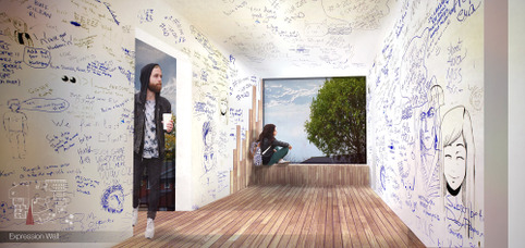 "Archontia Manolakelli - Interior Render ""Expression Wall"" Cheetham Psychology Centre"